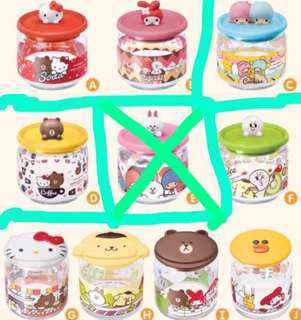🚚 WTS/WTT: 7-11 Line Friends x Sanrio Glass Container Collection