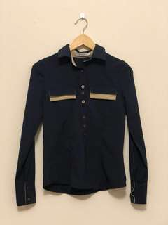 Navy Button Up Top