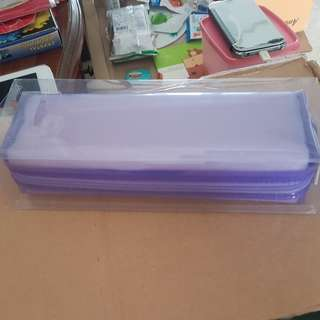 Transparent plastic pencil case
