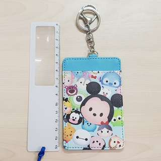 Disney Tsum Tsum Blue Card Holder with Hook Chain and Key Ring
