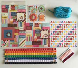 Scrapbook 立體貼紙、平面貼紙、手作材料、絲帶、瓦通紙條