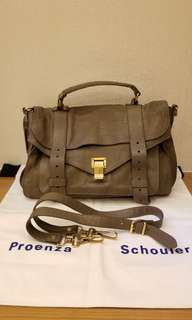 Proenza Schouler PS1 medium taupe color leather handbag