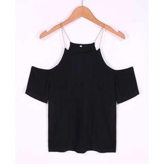 🚚 現貨ㄧ件 露肩短袖鎖鏈T恤
