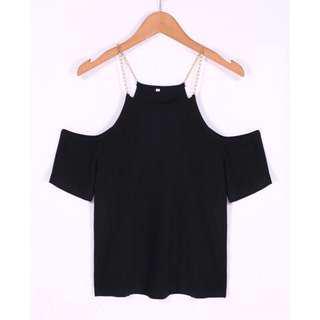 現貨ㄧ件 露肩短袖鎖鏈T恤