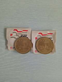 1990 Singapore Aluminium Bronze 5 Dollars 2pcs $18