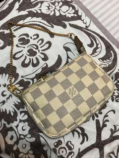 Louis Vuitton LV azur zip pouch with chain