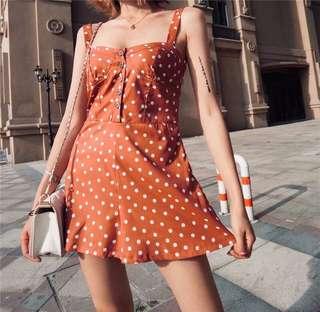Minimei追加款✪韓系韓版歐美風百搭休閒 夏季新款女裝時尚百搭修身顯瘦波點印花吊帶連體短褲
