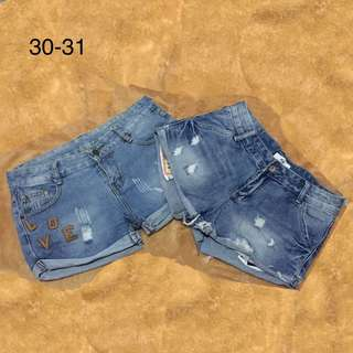 Bundle Lot of 2 Denim Maong Tattered Ripped Shorts