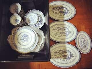 Jingdezhen porcelain bowls and plates rice eyes dragon motuf vintage