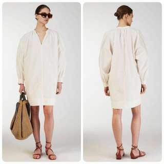 代購北歐Arket 新品 100%棉 米白色褶皺領襯衫直筒連身裙