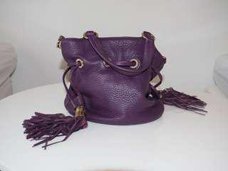 LANCEL Paris handbag leather purple rare