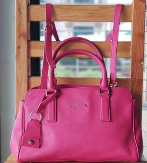 Authentic Agnes B. Hot Pink Two-way Saffiano Satchel