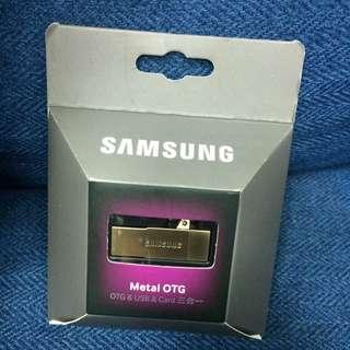 SAMSUNG Metal OTG 32GB 隨身碟【OTG & USB & Card 3合1 】