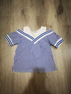 Baby Girl Off Shoulder Stripe Top