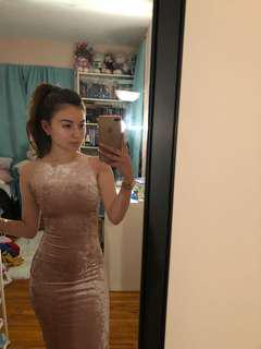 Pink Velvet Dress // Size XXS-S