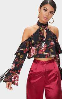 Black Floral Print Top/ Blouse