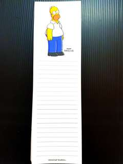 The Simpsons Universal Studio USA Notepad