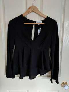 Luck & trouble black top flared sleeves size 6