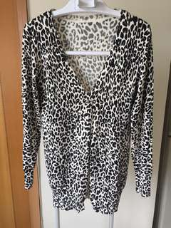黑白豹紋薄開衫 leopard print cardigan