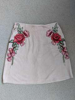 Pink suede velvet floral embroidered skirt size 6