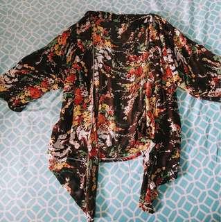 Brown Floral Kimono