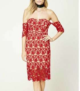 Forever 21 Offshoulder Dress (Small, Red Nude)