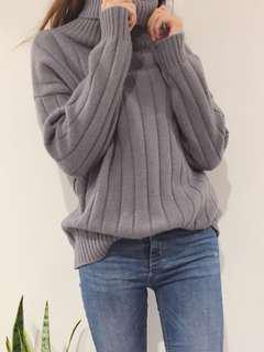Mixxmix Fold Over Turtleneck Knit Sweater - Gray