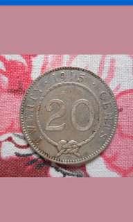 Sarawak /C. Brooke Rajah 20 cents coin 1915H