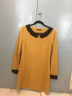 Atmosphere Mustard Dress with Black Knit Collar