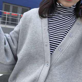 Grey puff-sleeve cardigan