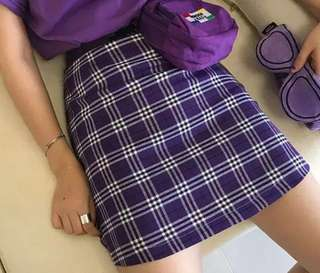 Purple plaid skirt