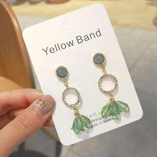💌-鑲鑽 透明水晶 幾何 水滴 耳環  🍬韓國製🍬