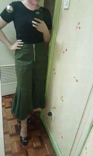 Khaki Zip Front Culottes
