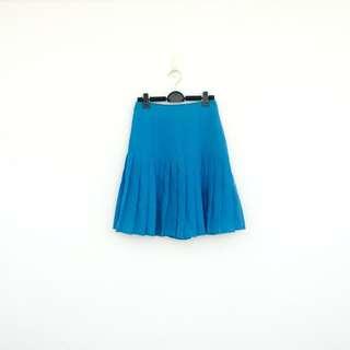 二手 藍色 高腰 百褶 短裙 明太子 617
