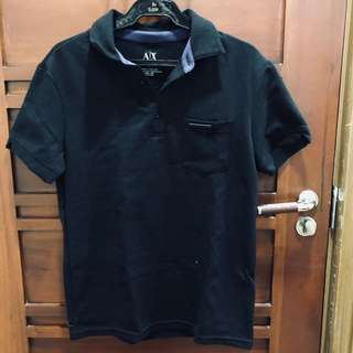 ARMANI EXCHANGE BLACK POLO SHIRT