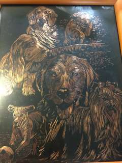 Handcrafted dogs art with frame