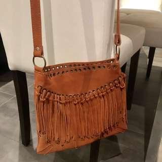 Vintage Suede Leather Tassel Boho Bag