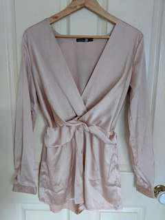 Boohoo Twist front satin playsuit size 8
