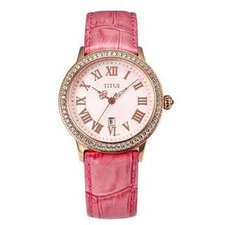 🚚 Solvil et Titus Rhinestone Leather Watch
