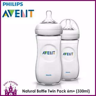 Philips Avent Natural Feeding Bottle 6m+ twin pack 330ml