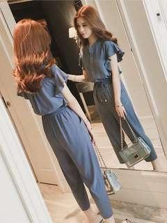 🚚 韓版夏季雪紡高腰荷葉袖連身褲連體褲闊腿長褲