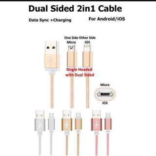 Dual 2 in 1 IOS Android Charging Cable #HariRaya35