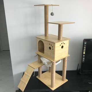 cat tree condo climb scratch post pole kitten play toy, not bed carrier