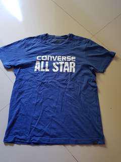 Tshirt Converse. 100% ori. S besar. Biru.