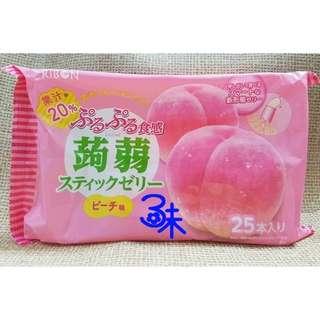 (日本) RIBON 立夢果凍條-白桃味(立夢食感蒟蒻-水蜜桃)1包377.5公克(25入)【4903316614342】(吸的果凍條 蒟蒻果凍條)