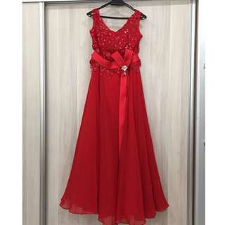 Maxi Evening Dress with Silver Brooch