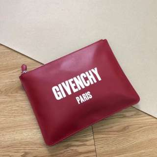 Givenchy Paris Logo Print Clutch