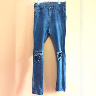 Denim Knee Tattered / Ripped Jeans
