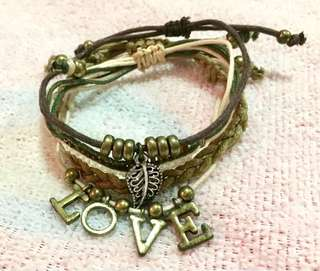 LOVE & Leaf Charm Layered Bracelet