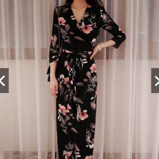 Women Maxi Dress Deep V-neck Floral Chiffon Long Dresses Clothing Slim Waist